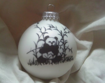 hand painted panda bear on a Christmas Ball