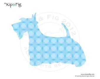 Scottie dog applique template - pdf applique pattern silhouette