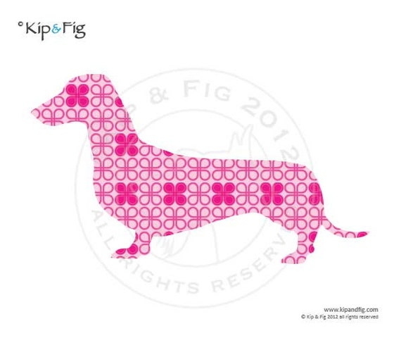 Dachshund dog applique template - PDF applique pattern