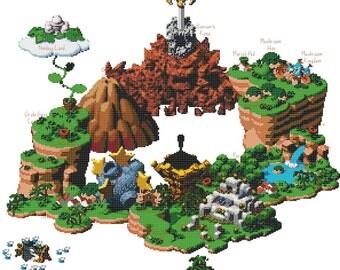 Super Mario RPG World Map Cross Stitch Pattern