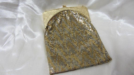 Whiting & Davis Co. Gold And Silver Color Mesh Hand Bag Made In USA