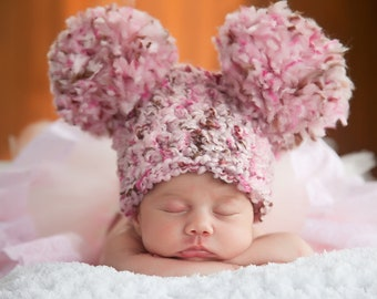 Baby Girl Hat Baby Hat 0 to 3 Month Pom Pom Baby Hat Ear Baby Hat Pink Baby Hat Brown Baby Girl Clothing Baby Girl Clothes Photo Prop