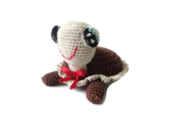 Amigurumi crochet-miniature amigurumi-unique amigurumi-mini arts-brown beige turtle-crochet turtle-miniature animal-miniature turtle