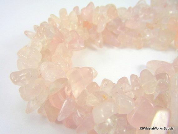 Large Rose Quartz Chip Beads, 16 Inch Strand, Whole Strand