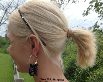 "Tribal Earrings, ""Exotic Ganesh II"" Naturally Organic, Horn, Brass Tops, Sterling Silver Posts, Hand Carved"