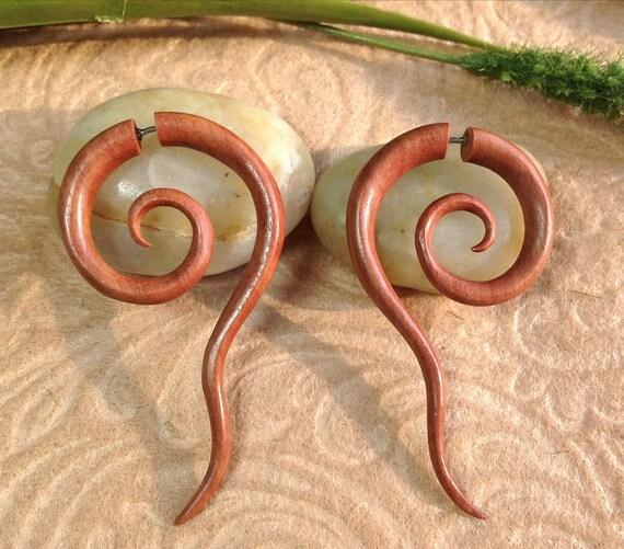 Fake Gauge Earrings, Spirals, Naturally Organic, Saba Wood, Hand Carved, Tribal
