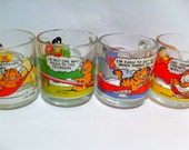 Vintage Anchor Hocking Garfield glass mugs.  Complete set of 4.  McDonald's promotion.