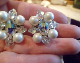 Vintage pearl and AB clip earrings made in Germany