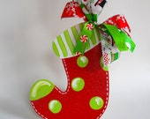 Personalized Ornament: Christmas Stocking, Wooden hand painted ornament