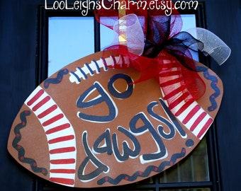 Door Hanger: Georgia Bulldogs Football, Wooden Football Door Decoration, Go Dawgs