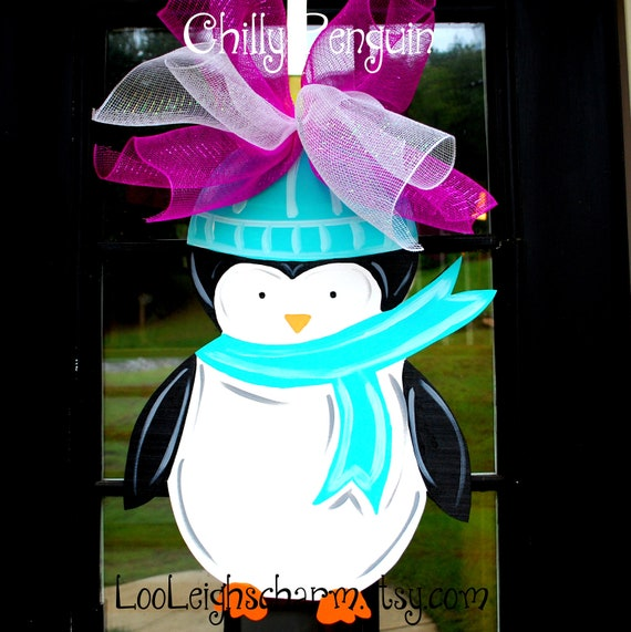 Door Hanger: Penguin, Christmas Decor, Christmas Door Hanger, Winter Door Hanger