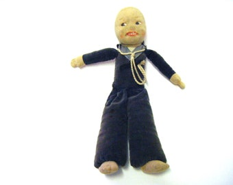 1940's Norah Wellings Victoria Toy Works Cruise Ship Cruise Line Sailor Cloth Souvenir Doll