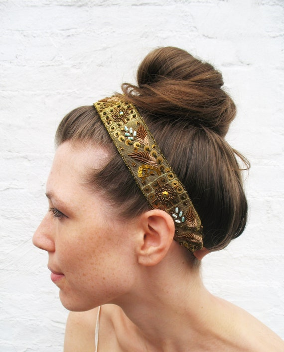 Gold Embroidered Headband Metallic Beaded with sequins and feather design