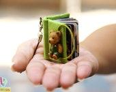 Custom Mini Photo Album Keychain - Handcraft - Green Bear (Made to Order)