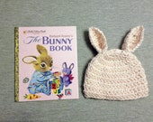 Bunny Hat and Book gift set for baby, Newborn Photo prop, unique baby shower gift, baby girl hat