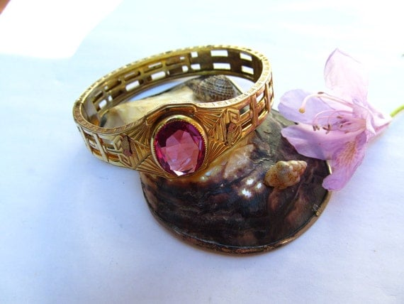 Gorgeous A.L.LCo Purple Stone Art Deco Bracelet by A.L. Lindroth