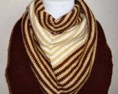 Striped Brown and Gold Shades Bandana Neck Warmer Scarf