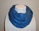 Soft and Silky Blue Cabled Hand knitted Cowl