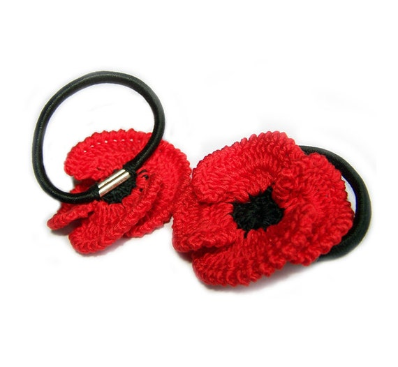 Red Poppies Ponytail holders/Back to school/Handmade accessories/Ready to ship
