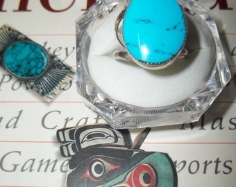 Sterling Silver and Turquoise Southwest Native Ring size 10 1/2