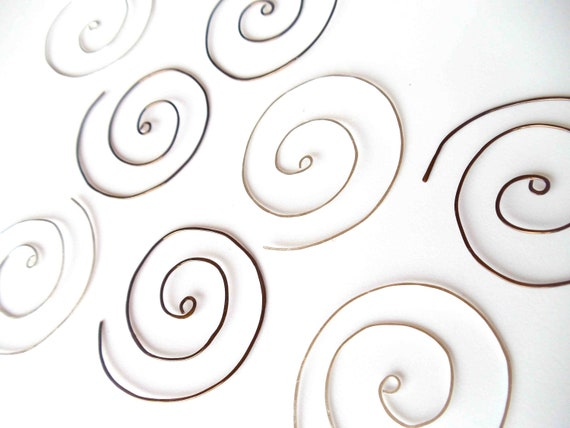 RESERVED FOR AMIE // wabi sabi wire spiral earrings // set of three pair