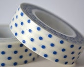 Deco Crafting Tape Blue Polk Dots on White
