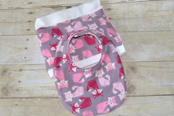 Foxy Lady  Pink Flannel Baby Bib and Burp Cloth Set