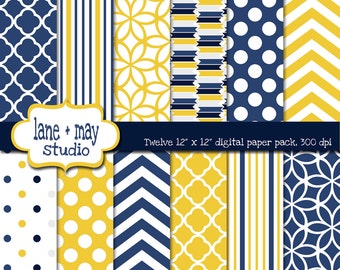 digital scrapbook papers - navy and yellow polka dots, chevron, stripes and quatrefoil - INSTANT DOWNLOAD