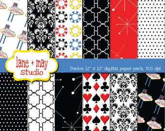 las vegas theme - red, black and white patterns - digital scrapbook papers - INSTANT DOWNLOAD