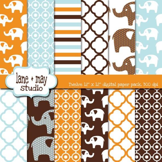 digital scrapbook papers - tangerine orange, aqua, and chocolate brown elephant patterns - INSTANT DOWNLOAD