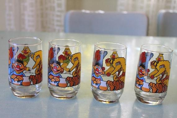 Set of 4 Vintage Sesame Street Juice Glasses Small Clear glass, Big Bird Cookie Monster Bert Ernie