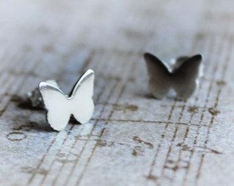 Silver Butterfly Post Earrings