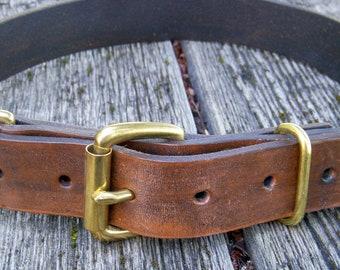Classic Leather Dog Collar, Plain Leather Dog Collar, Brown Leather Dog Collar, Pet Collar
