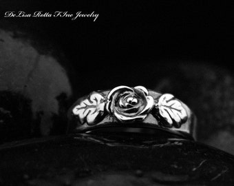 Recycled Silver, Rose, Wedding Band, Engagement Ring, Diamnond Alternative, Fashion Ring, Gift