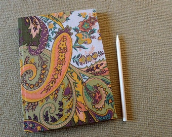 handmade notebook, diary, journal, sketch book, scrapbook, cotton fabric cover, paisley and graphic printed,green tone, hippie, boho- orient