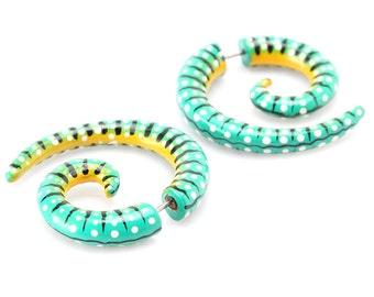 """Fake Gauge Earrings - Wood Earrings Fake Plugs - """"Painted Sono Wood Spirals-Green"""" Fake Gauges Tribal Earrings - Wood Jewelry"""