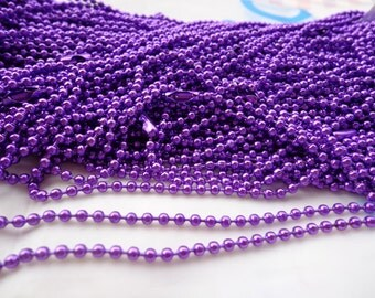 10 pcs 27 inch 2.4 mm Purple ball necklace chain with matching connector