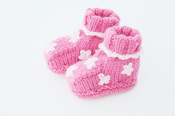 Baby Knitting Shoes Products : Baby booties knitted shoes pink girl