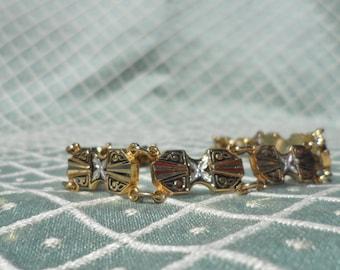 Vintage Damascene Gold tone Bracelet Diamond Cut and Black and Silver Enameled 1970's Costume Jewelry