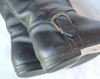 SALE 50% Off Sz: 6 English Style Riding Boots in Black Leather