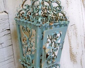 Reserved for Kay 10-20-12 Vintage shabby chic lantern light blue rusty metal farmhouse scroll candle holder ooak Anita Spero