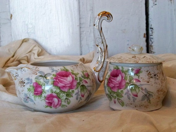 Vintage Lefton collectible stackable creamer and sugar bowl pink rose themed fine China Anita Spero
