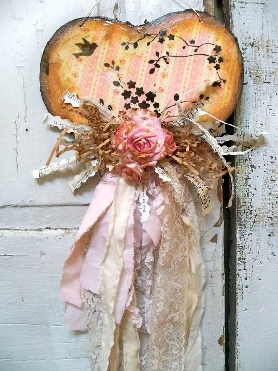 Home Decor Wall Art Paper Heart Shabby Chic By