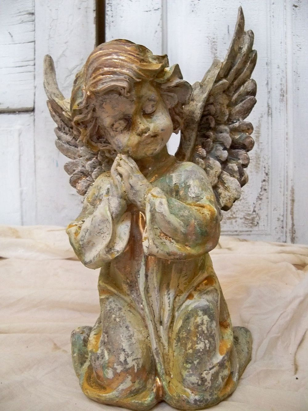 Shabby Chic Angel Statue Large Wings Sculpture Hand Painted