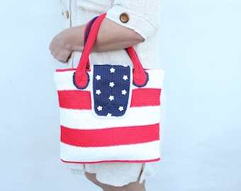 """Crochet bag """"American flag""""  with two handles/ Red, white and blue colors/ American flag bag /OOAK"""