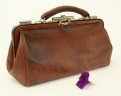 Vintage doctor leather bag, croco-style leather purse, 1920's or 1930's