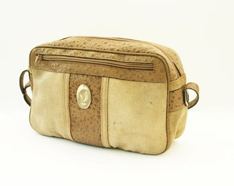 Yves Saint Laurent handbag vintage 1970s bag, ostrich leather, beige purse, YSL