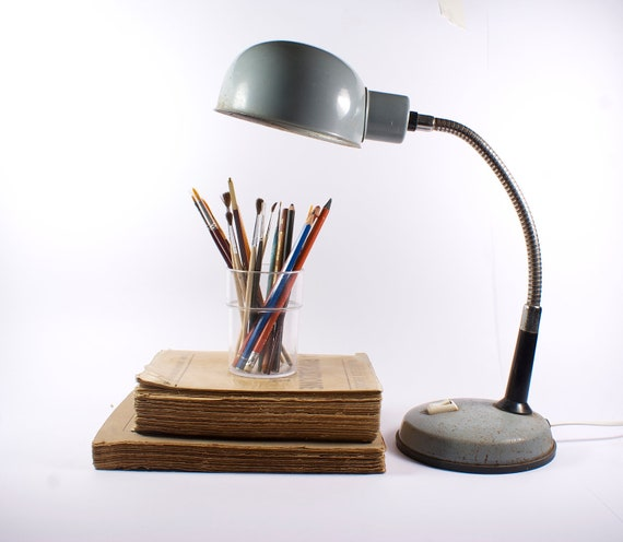 Back to school - Vintage grey table lamp
