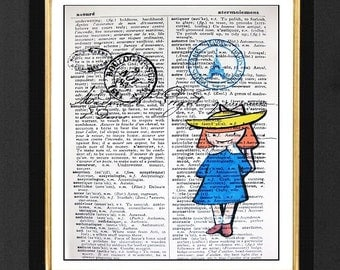 French Paris Le Madeline-ORIGINAL ARTWORK Mixed Media print on 5.5 x 8  French Dictionary page, French Dictionary art, Dictionary print