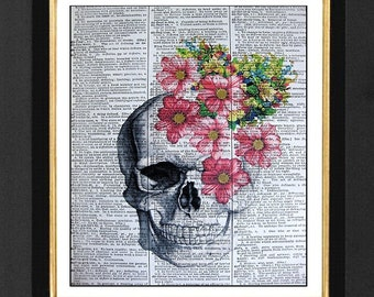 "Skull With Flowers ""The Tempest""Mixed Media art print on 8x10 Vintage Dictionary page, Dictionary art, Dictionary print, Skeleton Prints"
